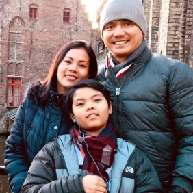 Ana Nabong with husband and son