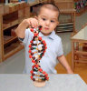 Boy Playing with DNA Model