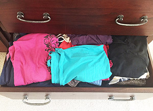 Cluttered clothes drawer